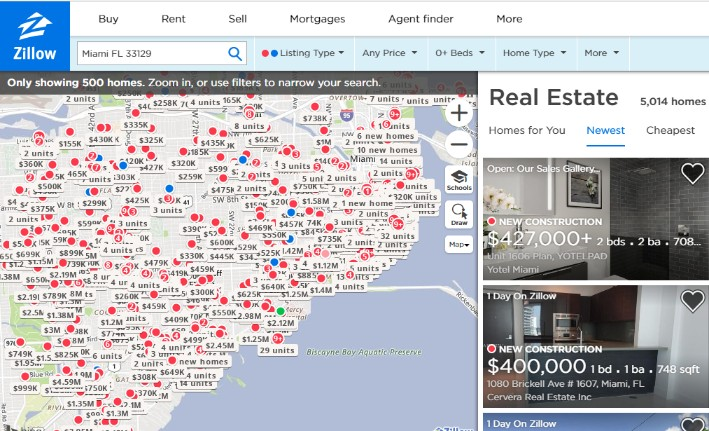 zillow map search